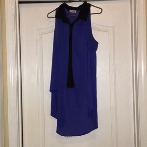 Blue and black summer dress shirt